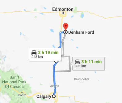 directions to denham ford in wetaskiwin from calgary, ab