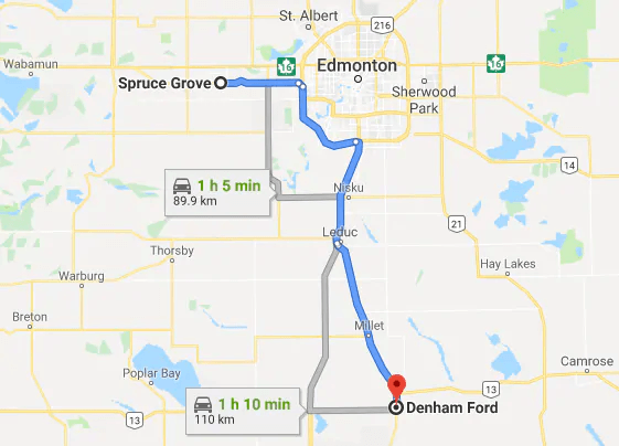 directions to denham ford in wetaskiwin from Spruce Grove, Ab